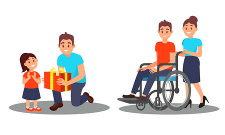 People Characters Giving Gift Box to Orphan and Helping Disabled on Wheelchair Vector Illustration Set