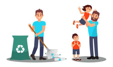 Young Man Gathering Plastic Bottles and Nursing Kids Vector Illustration Set