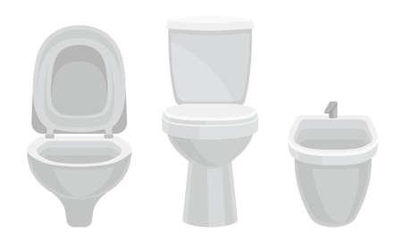 White Toilet Bowl or Toilet Tank Isolated on White Background Vector Set 向量圖像