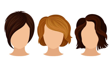 Different Hairstyle and Haircuts for Females Vector Set