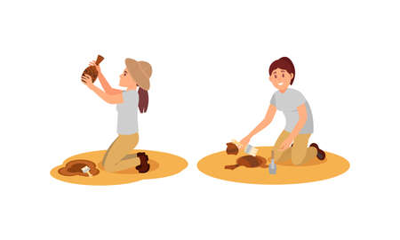 Young Woman Archeologist Working on Excavations Vector Illustration Set