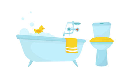 Bathtub with Tap and Lavatory Bowl as Home Amenity Vector Set