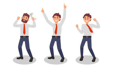 Smiling Man Office Worker Wearing Red Tie Enjoying Success and Cheering Vector Illustration Set Vettoriali