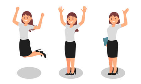 Smiling Woman Office Worker Wearing Formal Clothing Enjoying Success and Cheering Vector Illustration Set Vettoriali