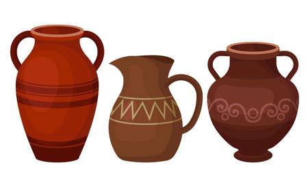 Ceramic Pitchers as Container for Pouring Liquids Vector Set Ilustración de vector