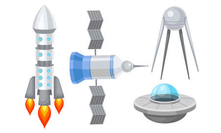 Orbital Artificial Satellites and Space Shuttle Vector Set 일러스트