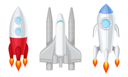 Space Shuttle and Spaceship Isolated on White Background Vector Set
