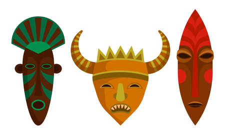 African Guise or Mask as Tribal Attribute Vector Set