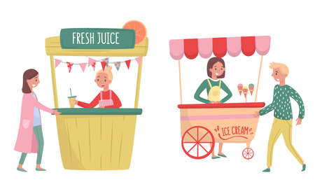 Woman Vendor Selling Fresh Juice and Ice Cream at Food Stall Vector Set