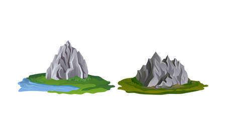 Mountain Peaks with Cliff and Rock Rested on Green Surrounding Vector Set