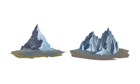 Mountain Peaks with Cliff and Rock Vector Set
