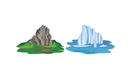 Blue Icebergs and Mountain Peaks with High Cliff Vector Set