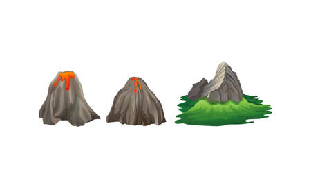Volcano with Hot Lava and Rocky Mountain Vector Set
