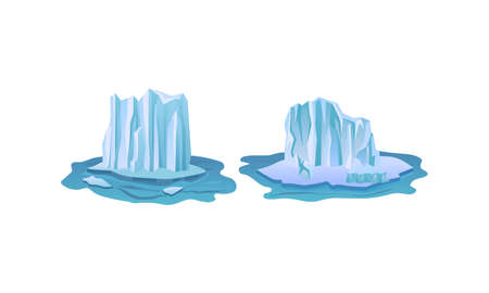 Blue Icebergs Peaks with High Cliff Vector Set