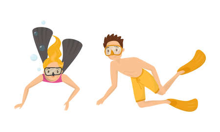 People Characters Wearing Swim Fins and Goggles Diving and Floating Underwater Vector Illustration Set Ilustrace