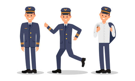 Man Aircraft Pilot Wearing Professional Uniform Standing with Coffee and Running Vector Illustration Set. Ilustrace