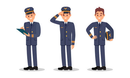 Man Aircraft Pilot Wearing Professional Blue Uniform and Cap Vector Illustration Set