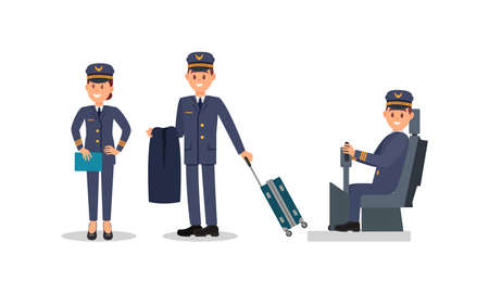 Man and Woman Aircraft Pilot Wearing Professional Blue Uniform Sitting at Control Stick and Pulling Luggage Vector Illustration Set