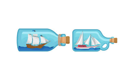 Ship and Watercraft in Glass Corked Bottle Vector Set