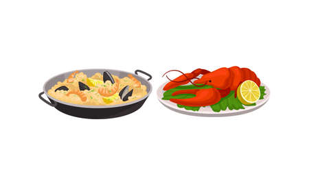 Rice with Shrimps and Herbs Served in Pan and Lobster as Spanish Cuisine Dish Vector Set