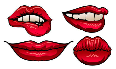 Red Upper and Lower Lips Closed and Showing Teeth in Smile Vector Set Иллюстрация