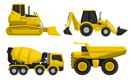 Heavy Machinery or Transport for Construction Work Vector Set 矢量图像
