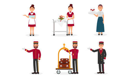Hotel Staff with Doorman and Chamber Maid Vector Illustration Set Illusztráció
