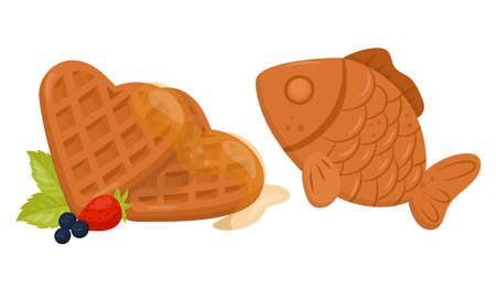 Heart Shaped Waffle with Textured Surface and Syrup Vector Set