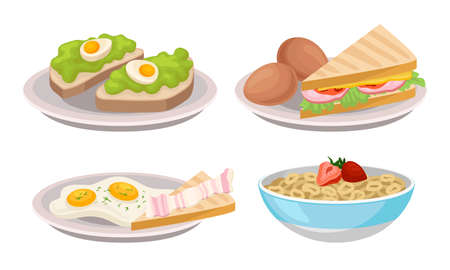 Breakfast with Sandwich, Cereals in Bowl and Scrambled Egg Vector Set