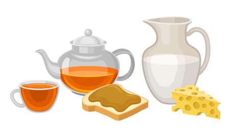 Breakfast with Sweet Sandwich and Tea in Kettle Vector Set