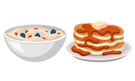 Cereals with Berries in Bowl and Pile of Pancakes with Melted Butter and Caramel as Breakfast Food Vector Set 矢量图像