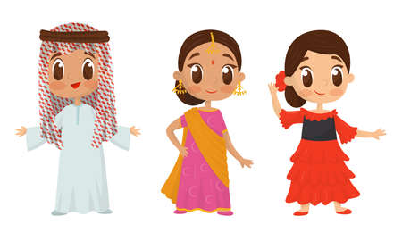 Smiling Boy and Girls Wearing Costumes of Different Countries Vector Set