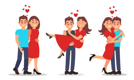 Man and Woman Couples Fallen in Love with Each Other Dating Vector Illustration Set