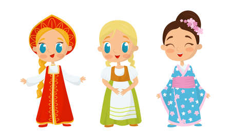Smiling Girls Wearing Costumes of Different Countries Vector Set