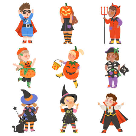 Cute Girl and Boys in Halloween Costumes Set, Little Child Dressed as Pumpkin, Vampire, Superhero, Witch, Happy Halloween Party Festival with Kids Trick or Treating Vector Illustration