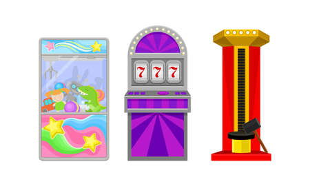 Arcade Machine or Amusement Machine as Coin-operated Entertainment Machine Vector Set