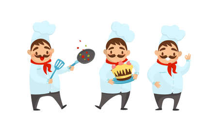 Man Chef with Moustache Carrying Cake and Frying Pan Vector Illustration Set
