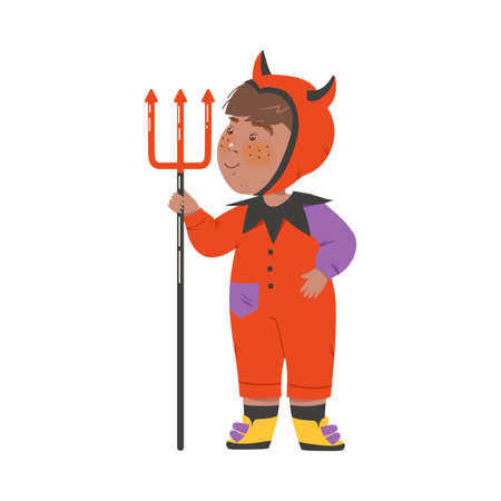 Cute Boy in Halloween Costume, Little Child Dressed as Imp, Happy Halloween Party Festival with Kid Trick or Treating Cartoon Vector Illustration  イラスト・ベクター素材