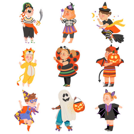 Cute Girl and Boys in Halloween Costumes Set, Little Child Dressed as Lion, Pumpkin, Devil, Magician, Witch, Happy Halloween Party Festival with Kids Trick or Treating Vector Illustration