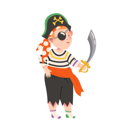 Cute Little Boy Dressed as Pirate, Happy Halloween Party Festival with Kid Trick or Treating with Flag Cartoon Vector Illustration