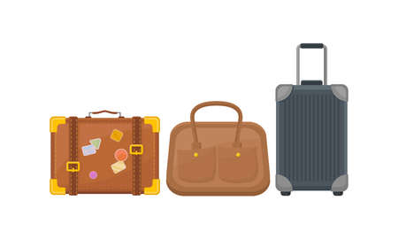 Baggage or Luggage Used for Traveling Vector Set Vettoriali
