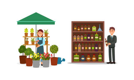 Man and Woman Vendor Standing at Street Booth or Stall with Flowers and Alcoholic Drinks Vector Illustration Set 矢量图像