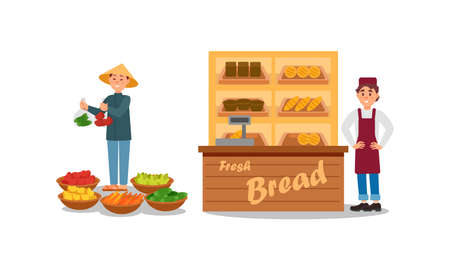 Man Vendor Standing at Street Booth or Stall with Vegetables and Bread Vector Illustration Set