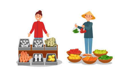 Man and Woman Vendor Standing at Street Booth or Stall with Fish and Vegetables Vector Illustration Set