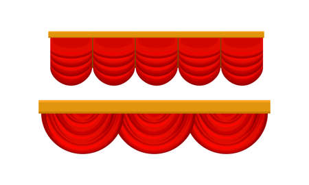 Red Silk Curtains as Movable Screen or Drape in Theater Vector Set