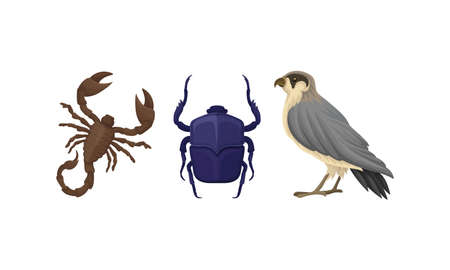 Desert Animals with Scarab and Scorpion Vector Set