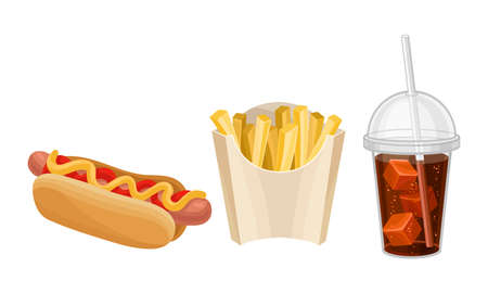 Fast Food with Hot Dog and French Fries Vector Set
