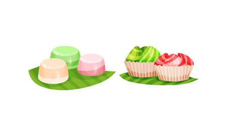 Arabic Sweets Served on Green Leaf Vector Set