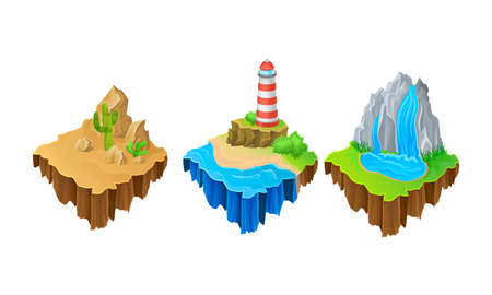 Floating Game Islands with Desert and Waterfall Vector Set 向量圖像