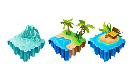 Floating Game Islands with Tropical Shore and Iceberg Vector Set 向量圖像